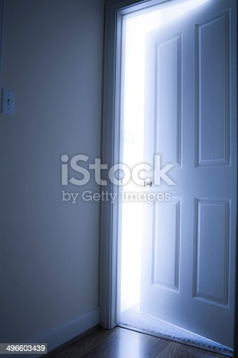 922736714 istock photo Concepts: Open door with bright light from the other side. 496603439