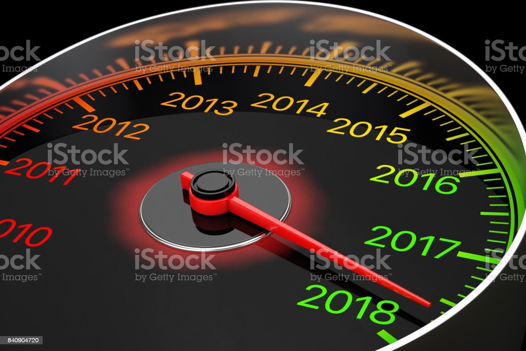 Conceptual 2018 New Year Speedometer. 3d Rendering stock photo