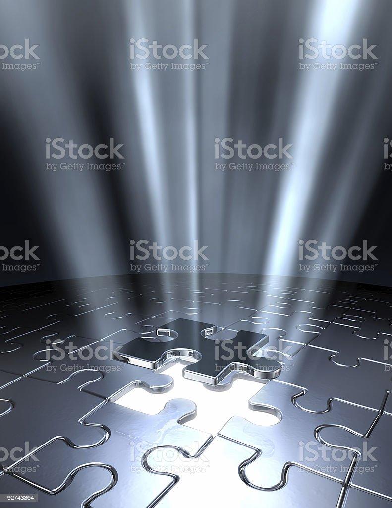 Conceptual 3D art final piece of jigsaw puzzle stock photo