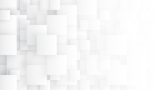 Conceptual 3D Different Size Tetragons Technology Minimalist White Abstract Background. Science Technologic Square Blocks Structure Light Wide Wallpaper. Tech Clear Blank Subtle Textured Backdrop