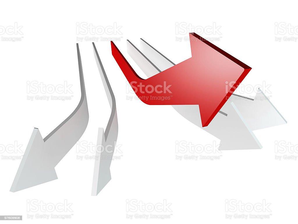 conceptual 3d rendered image of arrow isolated royaltyfri bildbanksbilder