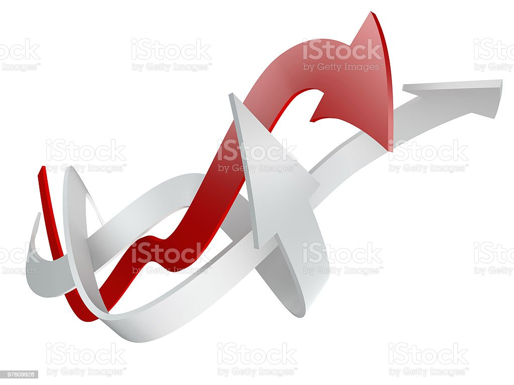 conceptual 3d rendered image of arrow isolated royalty-free stock photo