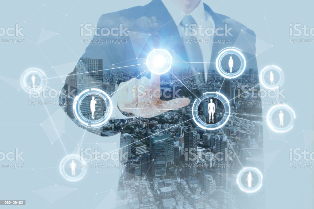 SNS(social networking service) conceptual abstract, a man pointing at stereoscopic vision, IoT(Internet of Things), ICT(Information Communication Technology), CPS(Cyber-Physical Systems) stock photo
