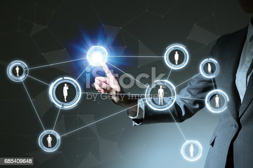 SNS(social networking service) conceptual abstract, a woman pointing at stereoscopic vision, IoT(Internet of Things), ICT(Information Communication Technology), CPS(Cyber-Physical Systems)
