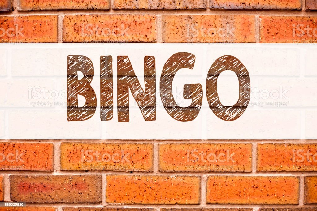 Conceptual announcement text caption inspiration showing Bingo. Business concept for Lettering Gambling to Win Price Success written on old brick background with copy space stock photo