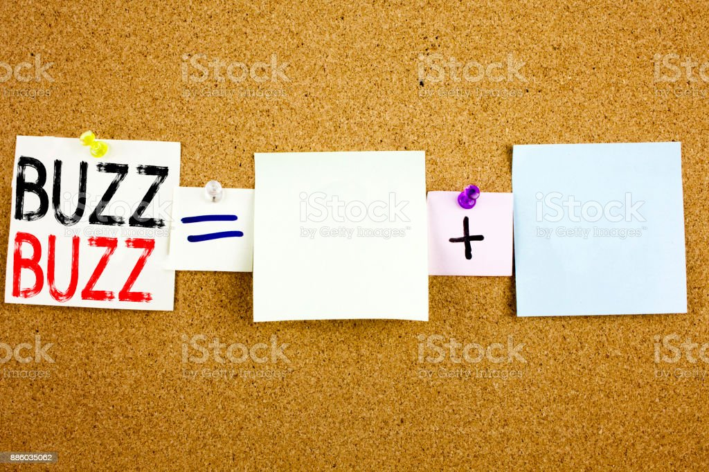 Conceptual announcement text caption inspiration showing Buzz Business concept for Buzz Word llustration written on Sticky Note on cork background with copy space stock photo