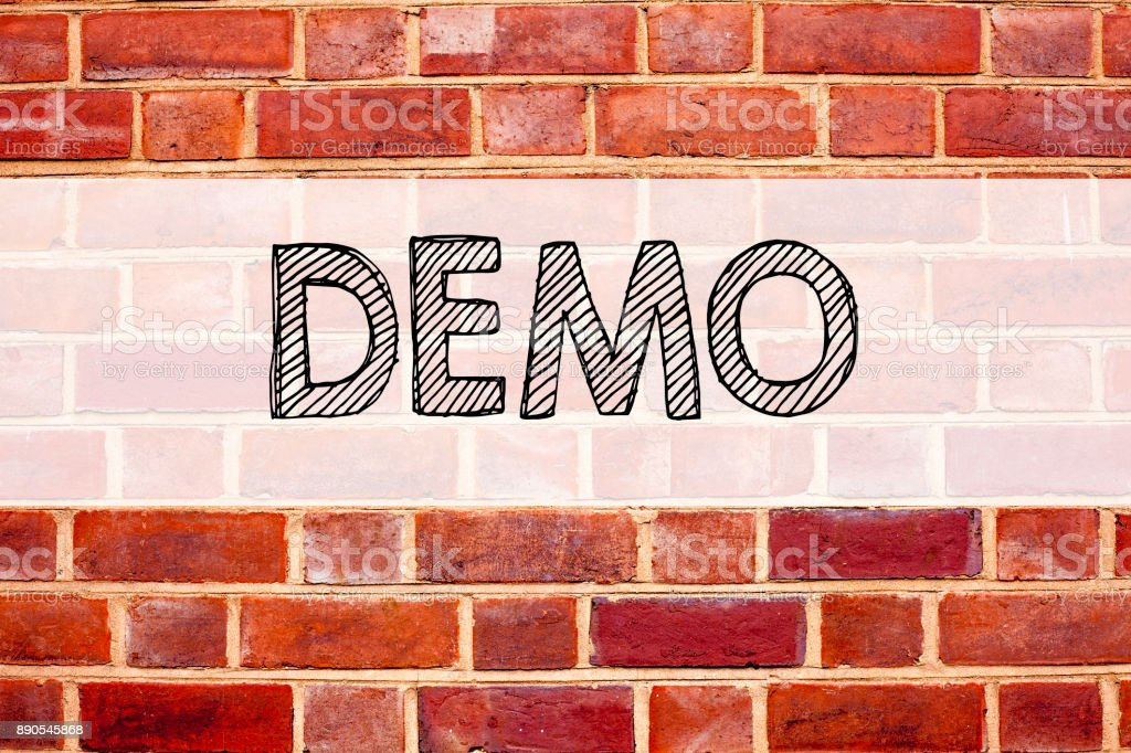 Conceptual announcement text caption inspiration showing Demo. Business concept for Software Demonstration written on old brick background with copy space stock photo