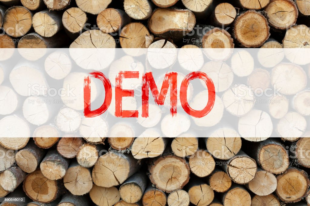 Conceptual announcement text caption inspiration showing Demo Business concept for Software Demonstration written on wooden background with copy space stock photo