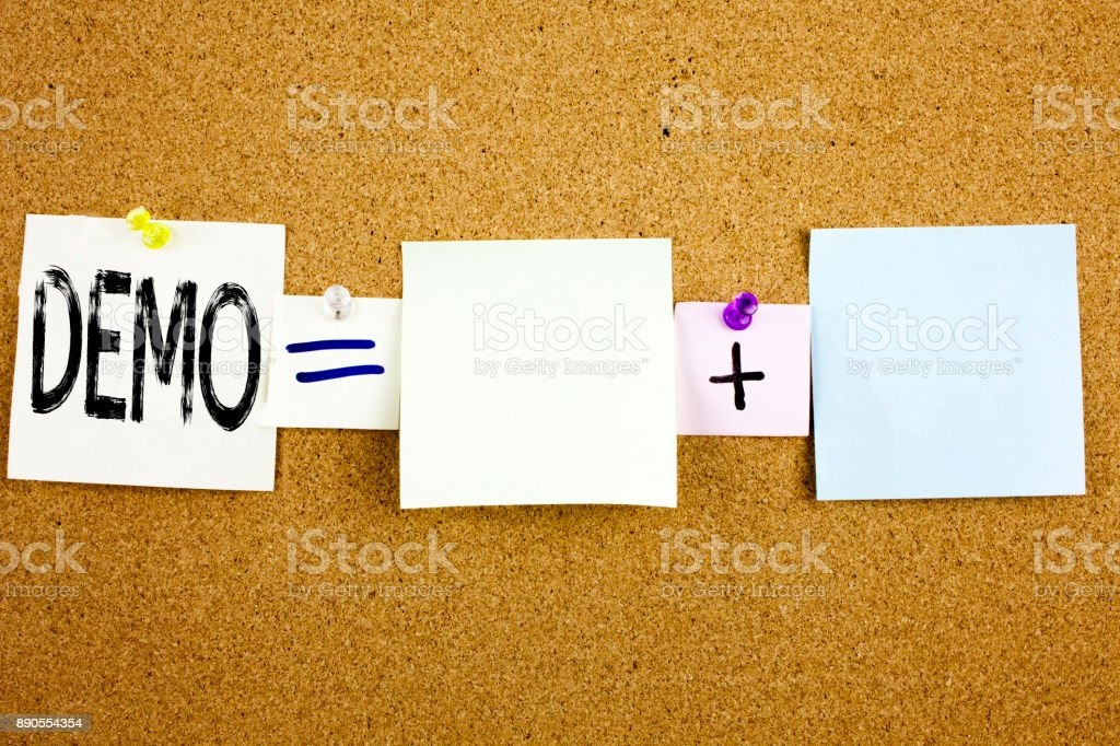 Conceptual announcement text caption inspiration showing Demo Business concept for Software Demonstration written on Sticky Note on cork background with copy space stock photo