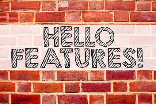 istock Conceptual announcement text caption inspiration showing Features. Business concept for Advertisement Advertising written on old brick background with copy space 887669750