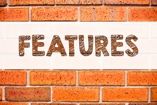 istock Conceptual announcement text caption inspiration showing Features. Business concept for Advertisement Advertising written on old brick background with copy space 887669882