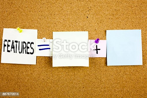 istock Conceptual announcement text caption inspiration showing Features Business concept for Advertisement Advertising written on Sticky Note on cork background with copy space 887670514