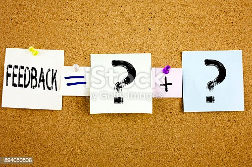 istock Conceptual announcement text caption inspiration showing Feedback Business concept for Opinion Information Positive Negative Feedback written on Sticky Note on cork background with copy space 894050506