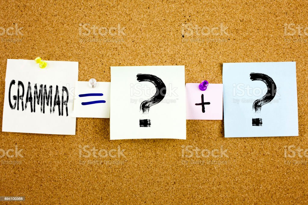 Conceptual announcement text caption inspiration showing Grammar Business concept for  The Basic Rules of Syntax Grammatical Language written on Sticky Note on cork background with copy space stock photo