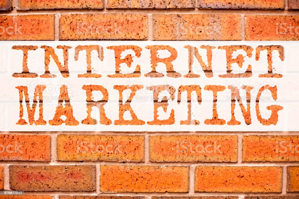 Conceptual announcement text caption inspiration showing Internet Marketing . Business concept for Technology Strategy Design written on old brick background with copy space stock photo