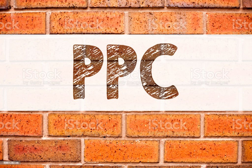 Conceptual announcement text caption inspiration showing PPC - Pay per Click. Business concept for Internet SEO Money written on old brick background with copy space stock photo