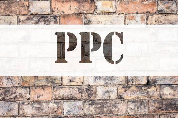 Conceptual announcement text caption inspiration showing PPC - Pay per Click. Business concept for Internet SEO Money written on old brick background with copy space – zdjęcie