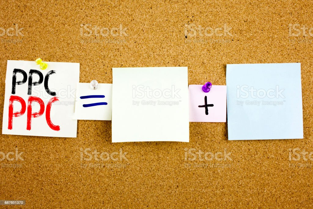 Conceptual announcement text caption inspiration showing PPC - Pay per Click Business concept for Internet SEO Money written on Sticky Note on cork background with copy space stock photo