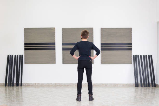 Conceptual artist making art installation stock photo