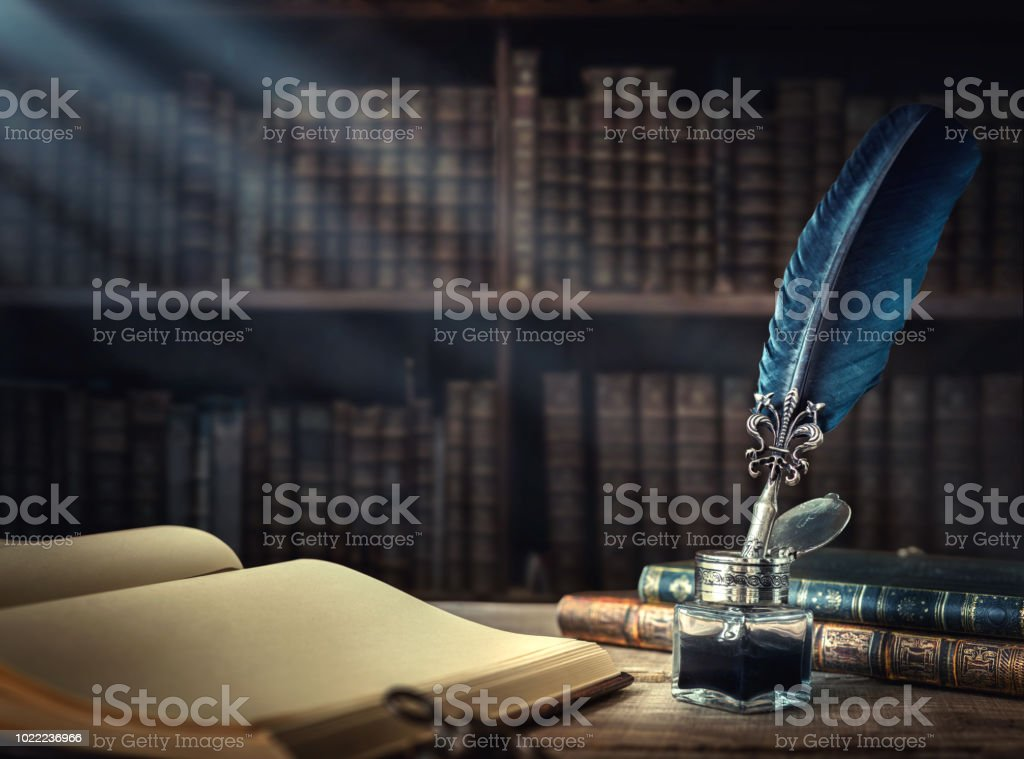 Conceptual background on history, education, literature topics. stock photo