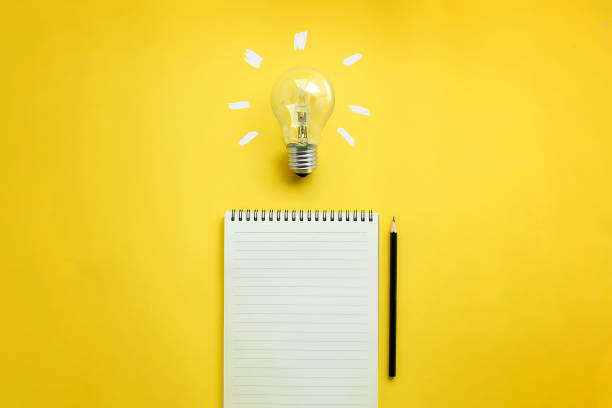 Conceptual brain storming still life. Flat lay of light bulb and empty memo pad and pencil on yellow background with texts. brainstorming stock pictures, royalty-free photos & images