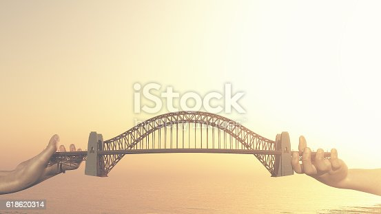 istock Conceptual bridge over water. 618620314