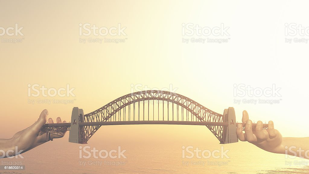 Conceptual bridge over water. stock photo