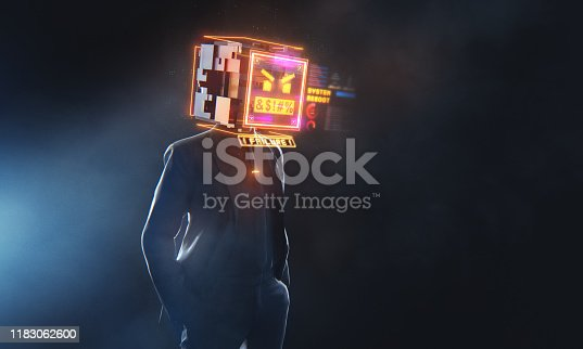 Futuristic 3D render of a businessman with digital monitor head with failure message and glitches.