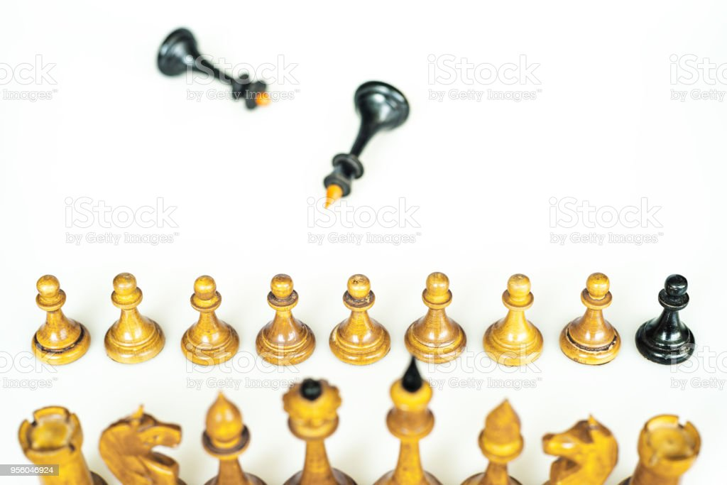 conceptual chess conceptual chess pieces; the double agent Apostasy Stock Photo
