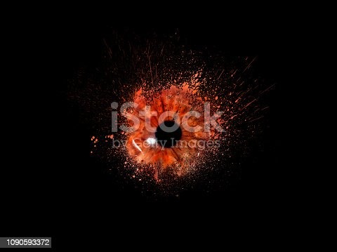 istock Conceptual creative photo of a female eye close-up in the form of splashes, explosion and dripping paint isolated on a black background. Female eye close-up with spray paint around. 1090593372