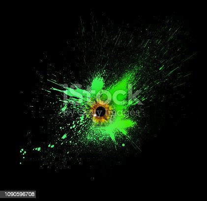 istock Conceptual creative photo of a female eye close-up in the form of splashes, explosion and dripping paint isolated on a black background. Female eye close-up with spray paint around. 1090596708