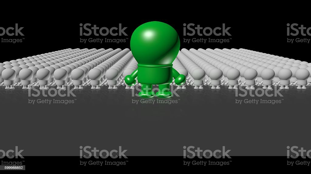 conceptual crowd of humans with one special green stock photo