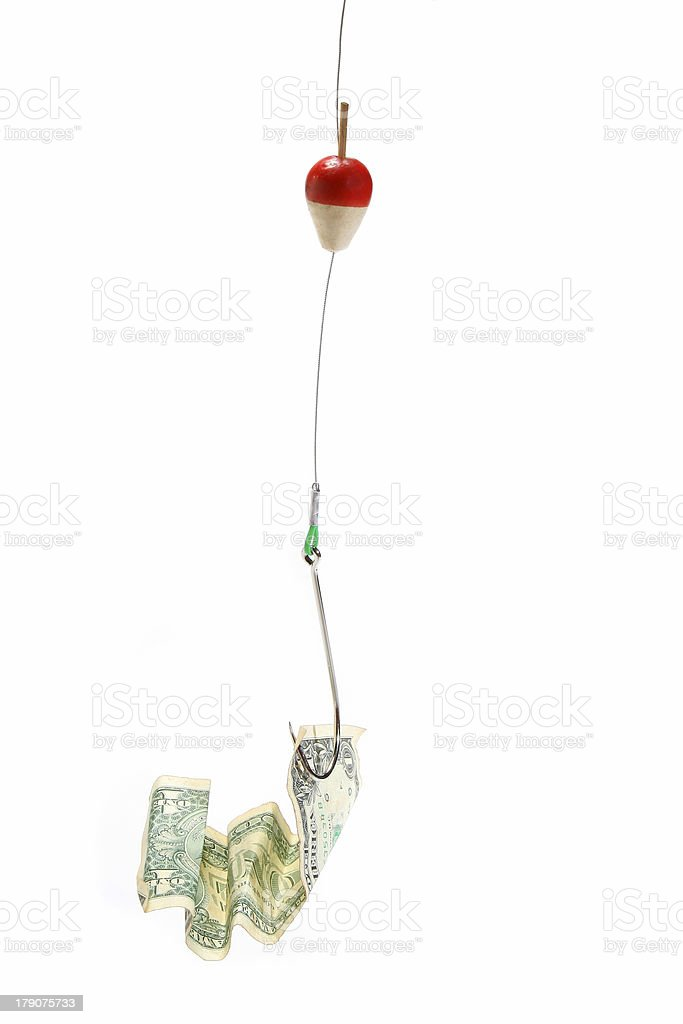 Conceptual. Dollar bill in a hook stock photo