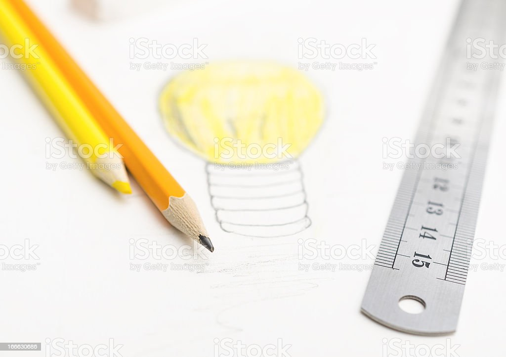 Conceptual drawing and supplies royalty-free stock photo
