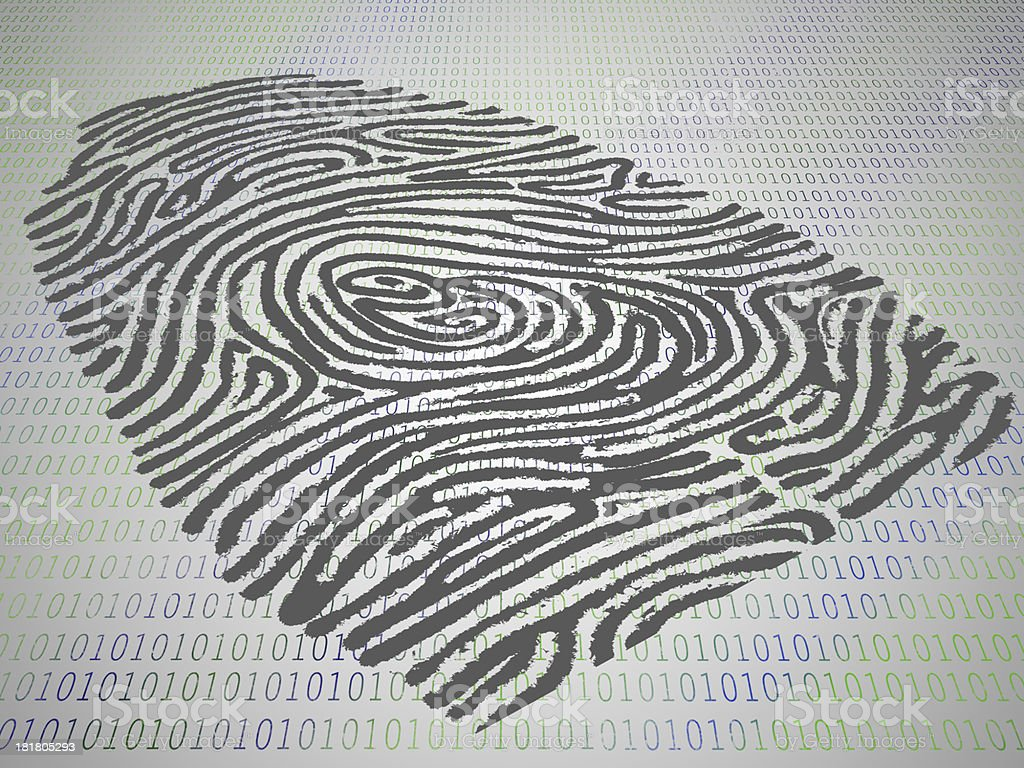 Conceptual finger print stamped atop computer code royalty-free stock photo
