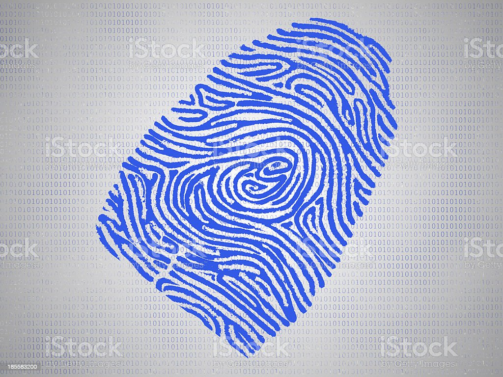 Conceptual fingerprint and code symbolize technology royalty-free stock photo