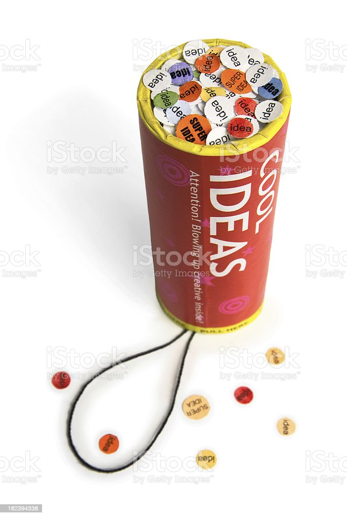 Conceptual firework unit with confetti royalty-free stock photo