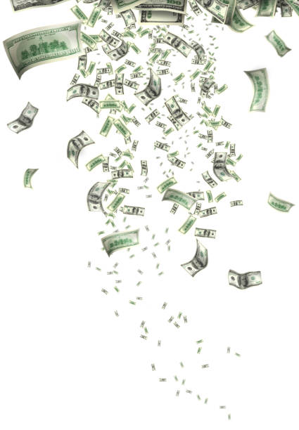 conceptual flying large group of money over white stock photo