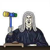 Conceptual funny illlustration of a judge holding a rubber hammer