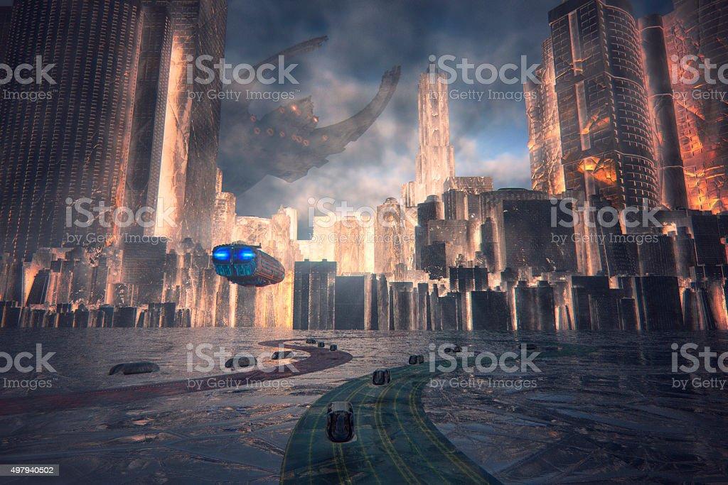 Conceptual futuristic cityscape image stock photo