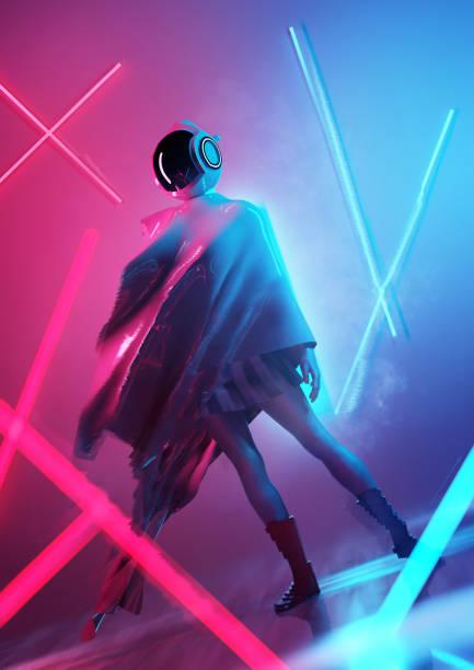 Conceptuel futuriste espace femmes posant - Photo