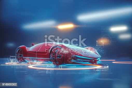 istock Conceptual generic futuristic sports car 916955302