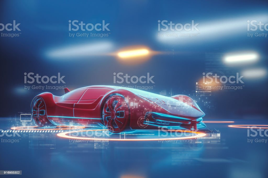 Conceptual generic futuristic sports car - foto stock