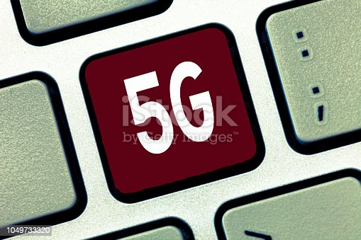istock Conceptual hand writing showing 5G. Business photo showcasing Next generation of mobile networks after the 4G LTE Fast speed connection 1049733320