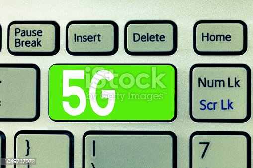 istock Conceptual hand writing showing 5G. Business photo text Next generation of mobile networks after the 4G LTE Fast speed connection 1049737072