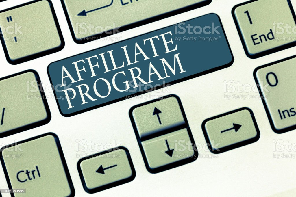 Conceptual hand writing showing Affiliate Program. Business photo showcasing Automated platform of two or more parties Associated stock photo