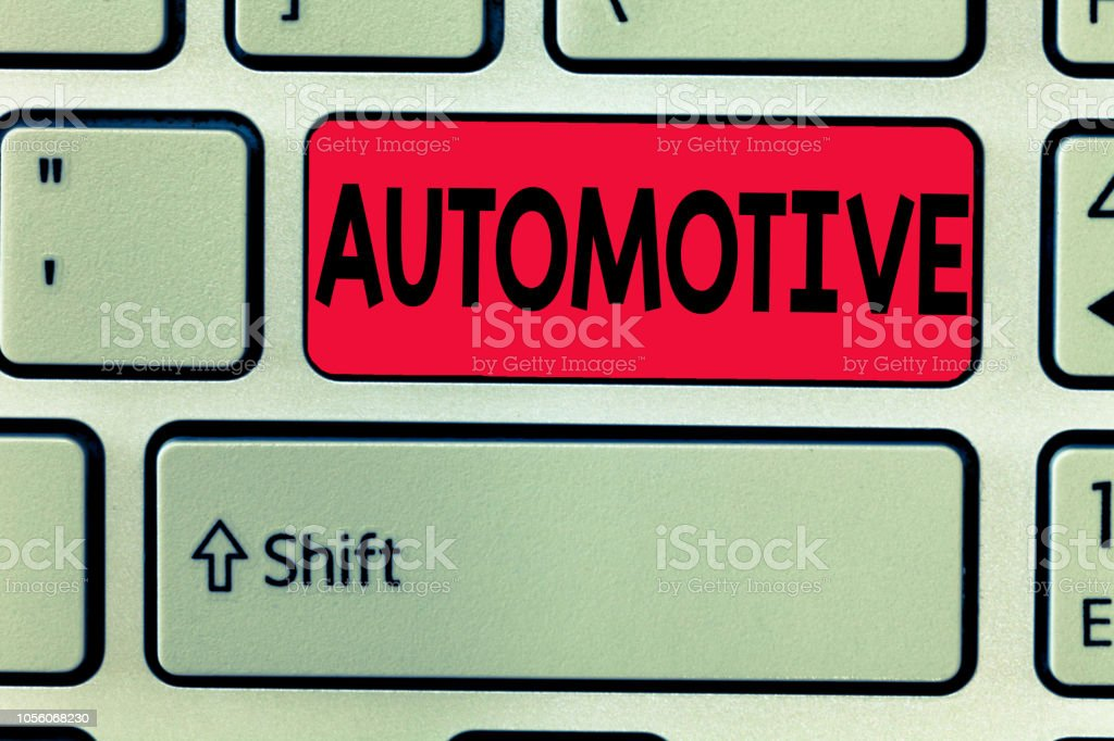 Conceptual hand writing showing Automotive. Business photo text Selfpropelled Related to motor vehicles engine cars automobiles stock photo