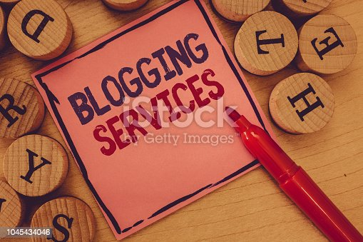 1045434476 istock photo Conceptual hand writing showing Blogging Services. Business photo text Social networking facility Informative Journalism 1045434046