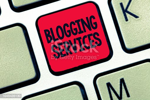 istock Conceptual hand writing showing Blogging Services. Business photo text Social networking facility Informative Journalism 1045435130