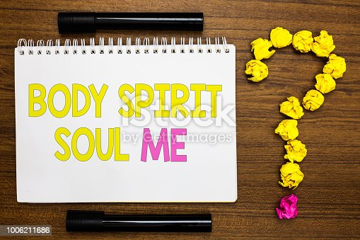 istock Conceptual hand writing showing Body Spirit Soul Me. Business photo showcasing Personal Balance Therapy Conciousness state of mind White page with bright color word black pen yellow paper lob. 1006211686